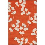 "Surya Jill Rosenwald Zuna Orange-Red (ZUN-1066) Rectangle 5'0"" x 8'0"""